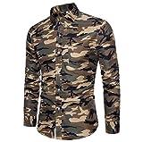 FNKDOR Chemises Casual Homme, Funky Chemise Homme Imprimé Camouflage Décontracté à Manches Longues Chemises Casual Tops Chic (Kaki, L2)