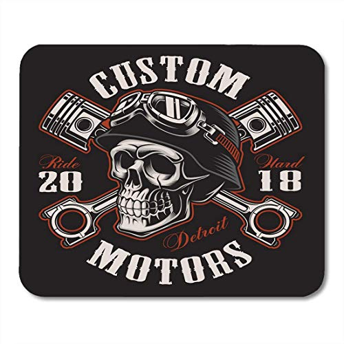 Mouse Pads Black Tattoo Biker Skull with Crossed Pistons Graphic Text Curved Are on The Separate Layer Mouse Pad for Notebooks,Desktop Computers Office Supplies