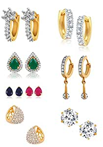 YouBella Golden Plated Hoop Earrings for Women (Multi-Colour)(YBECB_15)
