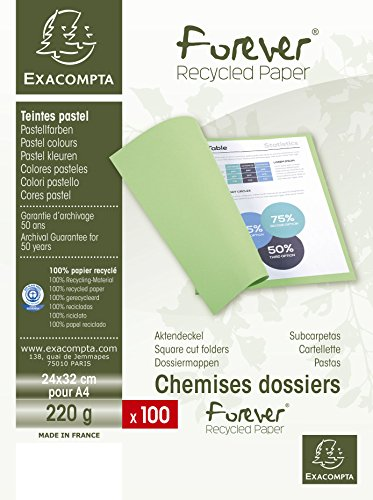 Exacompta 410005E - Lote de 100 Subcarpetas Forever® 250, Color Amarillo