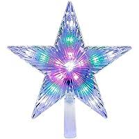 18CM Árbol de Navidad Top estrella chispeante brillantes colgantes árbol de Navidad, plastico Estrella Con Luces Led para decoracion árbol de Navidad