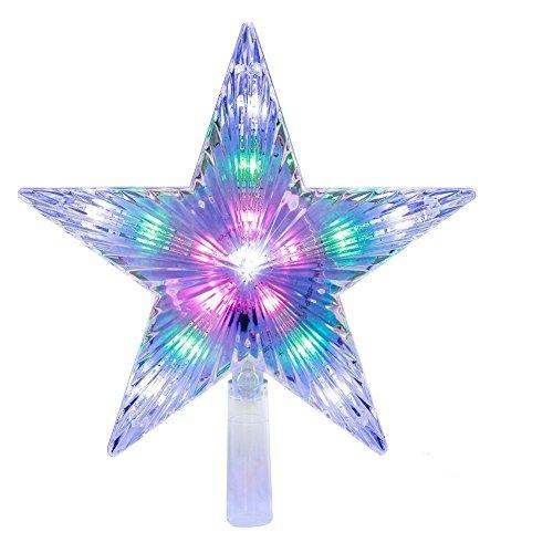 Runfon LED-Lampe für Weihnachtsbaum, Spitze, Stern-Dekoration, Weihnachtsbaum, Veränderung mit mehreren Modi, Weihnachtsstern, bunt, Dekoration für das Fest -
