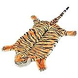 vidaXL Alfombra de Tigre de Peluche 144 cm Marrón Alfombrilla Niños Felpa Suave