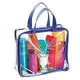mDesign Reisetasche für Accessoires – Tasche für Strand, Pflegeprodukte oder Kosmetik – Tragetasche transparent / navyblau
