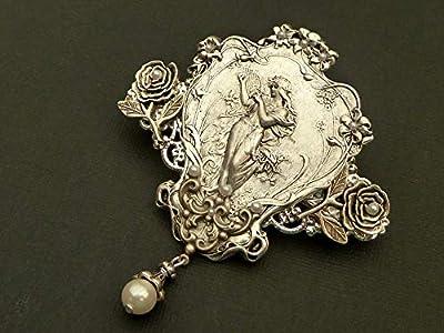 Grande pince à cheveux avec roses de nymphe Art Nouveau