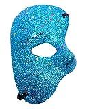 KIRALOVE Maschera metà Volto - Fantasma dell'opera - Colorata con Glitter - Costume - Travestimento - Carnevale - Halloween - Cosplay - Colore Azzurro