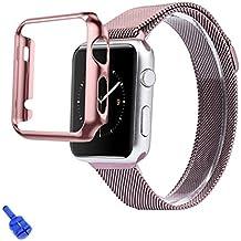 For Apple Watch iWatch 38mm,Ouneed ® Cubierta de la caja + Adaptador de acero inoxidable Correa de reloj Band + Apple Seguir iWatch 38mm (Oro rosa)