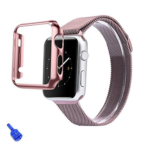 For Apple Watch iWatch 38mm,Ouneed ® Cubierta de la caja + Adaptador de acero inoxidable Correa de reloj Band + Apple Seguir iWatch 38mm (Oro rosa)