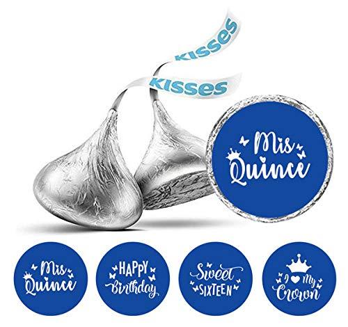 Darling Souvenir Hershey Kisses Süßigkeit Labels 190 Pcs Quinceanera Party-Thema-Aufkleber-Medium Blue