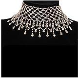 JZTRADING Collar de Gargantilla Shine Collar con Colgante y Dije clásico Ajustable para Damas, niñas, Mujeres, Accesorios para Fiestas (Oro)