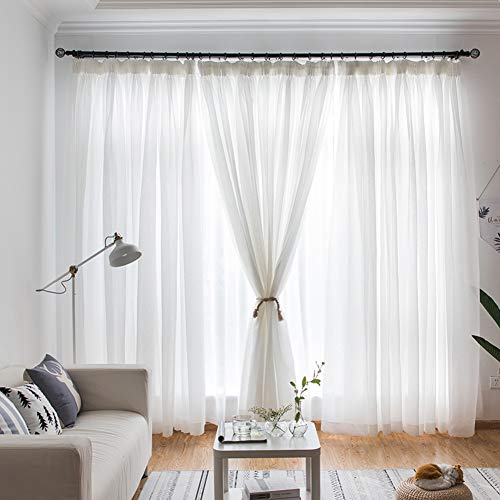 YHviking Blanco Puro Respirable Cortinas De Traslúcidas,Cortinas