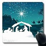 Luancrop Mousepads f�r Computer Leichte Weihnachtskrippe Heilige Familie Magi Papa Orientalische Feiertage Jesus Krippe Gold Krippe Design rutschfeste, l�ngliche Gaming-Mausunterlage