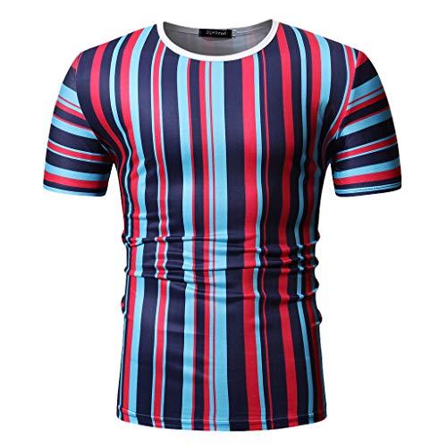 CICIYONER Herren T-Shirt Sommer Streifen Patchwork Kurzarmshirt Top Bluse M-2XL