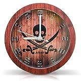 Grinscard Alarm Wecker Pirat Design - Braun Holzplanken ca. 12 cm Durchmesser - Quarzuhrwerk Design-Wecker als Geschenk