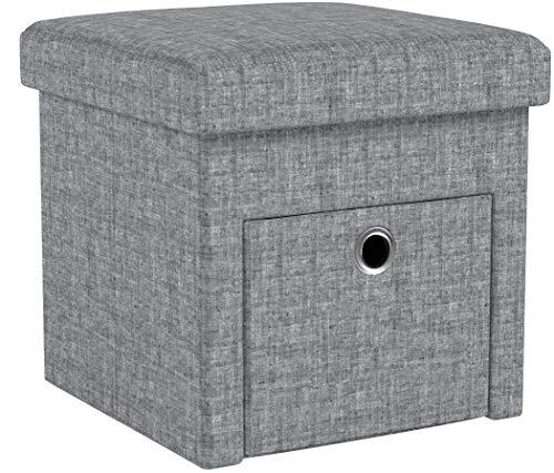 Relaxdays Faltbarer Sitzhocker, Leinen, Aufbewahrungs-Fach, Abnehmbarer Deckel, Sitzwürfel, stabil, bis 300 kg, HxBxT 38 x 38 x 38 cm, grau