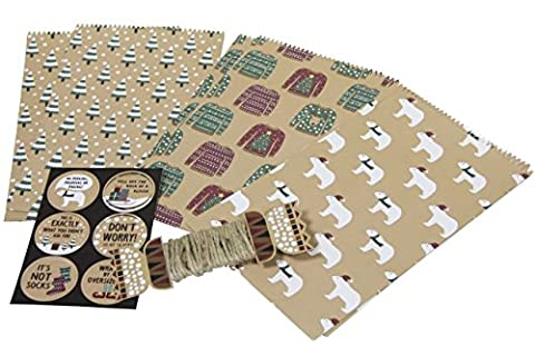 Vintage Christmas Gift Wrap Set 6 Brown Paper Bags With Stickers & Jute String