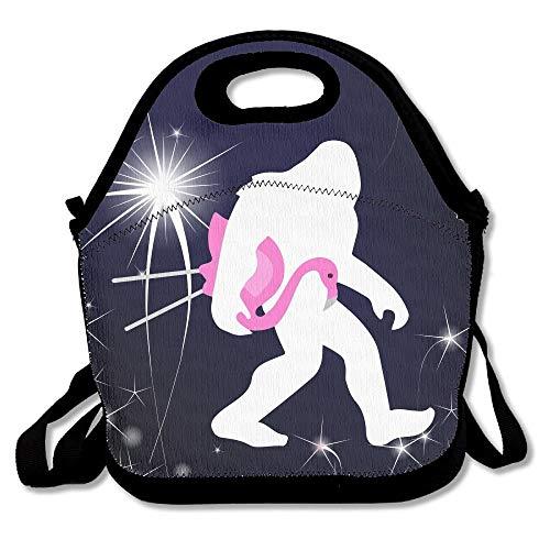 Bigfoot and Lawn Flamingo Lunch Bags Isolierte Picknick-Lunchbox Tote-Handtasche mit Schultergurt für Frauen Teens Mädchen Kinder Erwachsene 16 x 24,40cm x 60cm