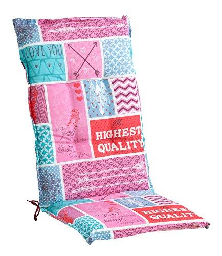 Sesselauflage Sitzpolster Gartenstuhlauflage für Hochlehner BRANO 1 | 50x120 cm | Pink-Türkis
