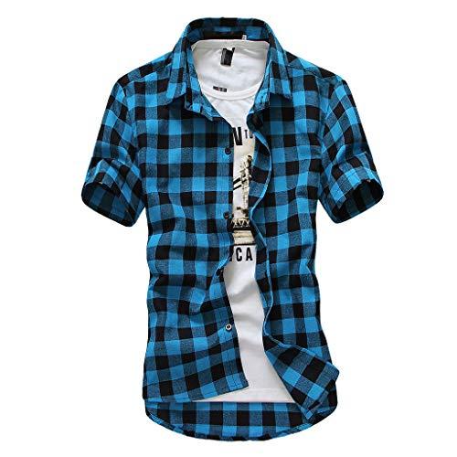 Mit Einem Flanell Hemd Kostüm - MAYOGO 2019 Mode Kariertes Tshirt Herren Kurzarm Shirt Lässige Bekleidung Poloshirts Hemden Tops mit Knopf