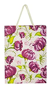 Arrow Paper Purple Flower Design Gift Bags for Gifting, Weddings, Birthday,Holiday Presents(28 cm x 20 cm x 7.5 cm,Pack of 10)