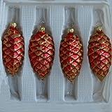 Tannenzapfen rot matt mit Dekor Christbaumschmuck Weihnachtsbaumschmuck mundgeblasen, handdekoriert Lauschaer Glas das Original
