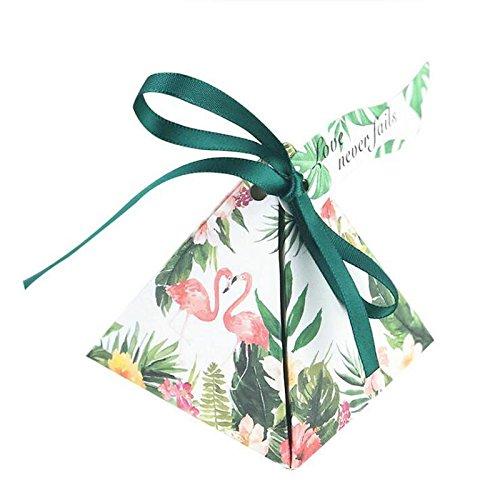 Jun 50PCS Tropical Flamingo Forest DIY Papier Hochzeit Sweet Candy Box Case Triangle chocholate Geschenk-Boxen mit Schleife Hochzeit Geburtstag Party Favor, Sackleinen, burgunderfarben, Pyramid Triangle (2 Dots-band Stück-polka)