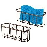 mDesign 2er-Set Schwammhalter Küche mit Saugnäpfen für Spüle - Schwammablage zur praktischen Aufbewahrung von Bürste, Topfschwamm und Seife - Spülbecken Organizer mit Saugnapf - bronzefarben