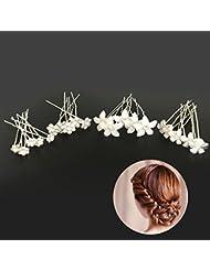 Ealicere 20pcs Hochzeit Haarnadeln Perlen Blumen Braut Haarschmuck Strass für Brautfrisur, U-förmig Haarnadeln Für Frauen und Mädchen