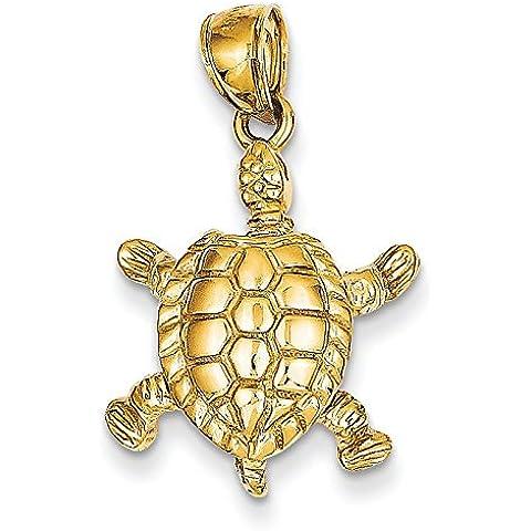 14kt oro massiccio lucido 3-Dimensional Moveable Tartaruga
