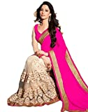 Beautiful Pink Embroidery Georgette Sare...