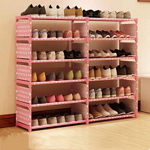 Qinqin666 Adjustable Shoe Storage Shoe Rack Organiser Shoe Space Saving, Easy Assemble Pink Double Row 6 Layers