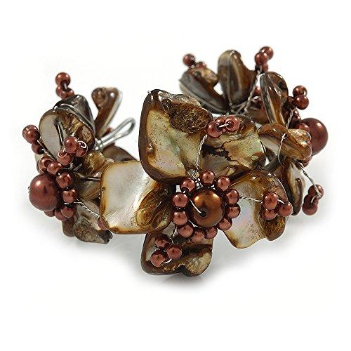Taupe/Kaffee Braun geblümt Sea Shell & Simuliert Pearl Manschette Armband (Silber Ton)–verstellbar (Kaffee-shell)