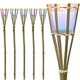 Multistore 2002 6 Stück Bambusfackel 77cm mit LED Farbwechsel & Duftkerze im Glas Zitrone, Partybeleuchtung