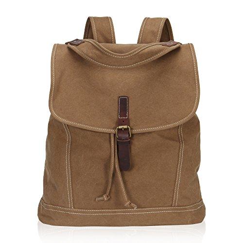 Imagen de veevan  grande / bolso al hombro de lona con correa de cuero genuino caqui  alternativa