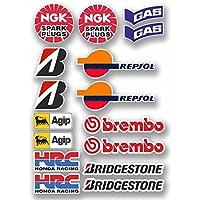 Sheet A4-16 x Motorbike Race Stickers Honda Yamaha Suzuki Kawasaki Bike#9758 A4 (30 cm x 20 cm) como se