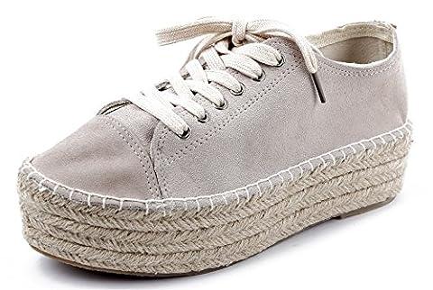 AgeeMi Shoes Femme Lacet up Espadrille Basket Plateforme Suédé Femme Chaussure,EuD39 Gris 38