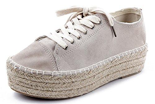 AgeeMi Shoes Damen Rund Zehe Schnüren Sneaker Low Top Espadrilles Schuhe,EuD39 Grau 38
