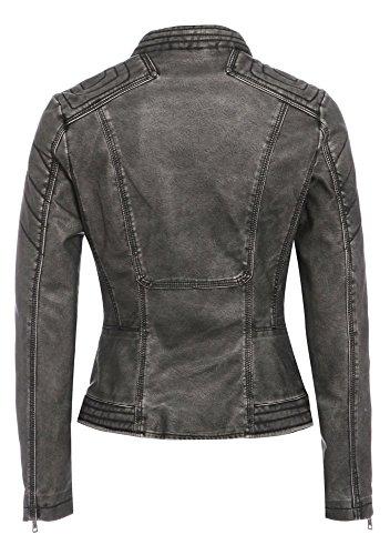 SS7 - Veste biker imitation cuir modèle femme, eu 36 à 44 Gris