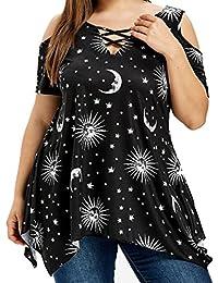ASHOP Camisetas Muje, Camisetas Manga Corta EN Oferta Talla Grande Suelto Tops Blusas de Mujer Elegantes de Fiesta Baratas Impresión…