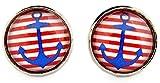 Miss Lovie Damen Mädchen Ohrstecker Maritim Anker Ohrringe Cabochon 12mm Modeschmuck Schmuck Blau Rot Silber