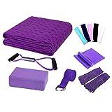 Pawaca Yoga Starter-Set – 11-teiliges Essentials Anfänger-Set inklusive Yoga-Handtuch, Yoga-Blöcken, Yoga-Gurt, Stretchband, Yoga-Socke, Yoga-Kopfband, Federkabel, violett