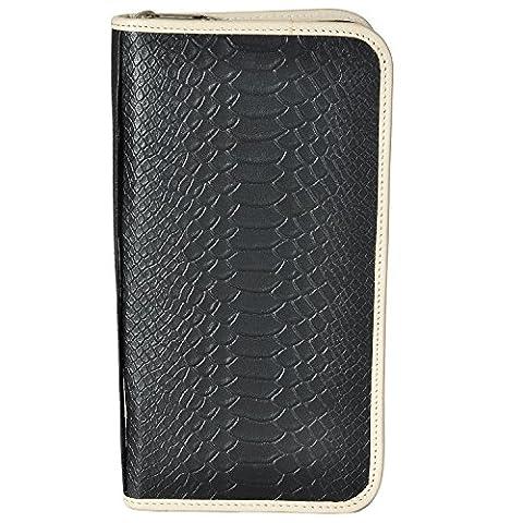 AzraJamil Anaconda Snake Skin Emboss Genuine Leather Travel Organiser Wallet (Ohio Vintage-note)