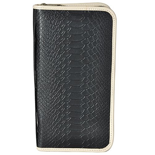 AzraJamil Anaconda Snake Skin Emboss Genuine Leather Travel Organiser Wallet (Passport Tumi Wallet)