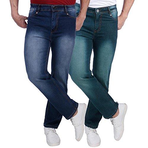 Nebraska Men's Regular Fit Denim Stretchable Jeans (Pack of 2)