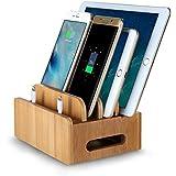 EReach Estación de Carga de Bambú natural para Multi-dispositivo,con 4 Cuadros,Organizador de Escritorio,Soporte de Carga para Iphones,Samsungs,Tabletas,Ipads.
