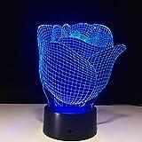Orangeww 3d Illusion Lampe Led Nachtlicht/usb Powered / 7 Farben Blinken/Schlafzimmer Dekoration Beleuchtung/Valentinstag Rose