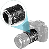 Neewer Messa a Fuoco Automatica Macro Tubo di Prolunga Set per Canon EOS DSLR Reflex Obiettivo, Extreme Close-Ups (Argento) (13-21-31mm Baionetta Metallica)