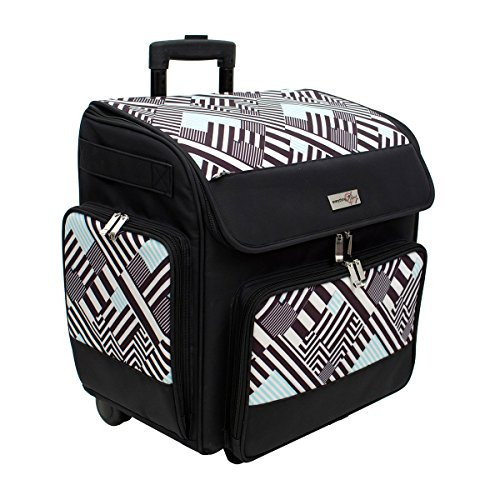 32d3290e9a86 Everything Mary Machine Trolley Bag Teal Geometric Stripe 46x27x47cm  EVM10643-2