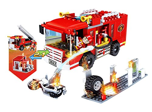 Toyshine ABS Plastic 2 in 1 Convertible Fire Fighter and Rescue Blocks Set/ Construction Toy, 184 Pieces (3022-1, Multicolour)