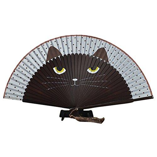 ROSENICE Damen Handfächer Fächer Sommer süße Katze Seide Bambus Hand Fan Falten(Coffee) (Vertikale Zeichen Zu öffnen)
